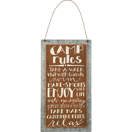 "Hanging Decor - Camp Rules - 5.25"" x 9.50"" - Wood, Metal, Wire"