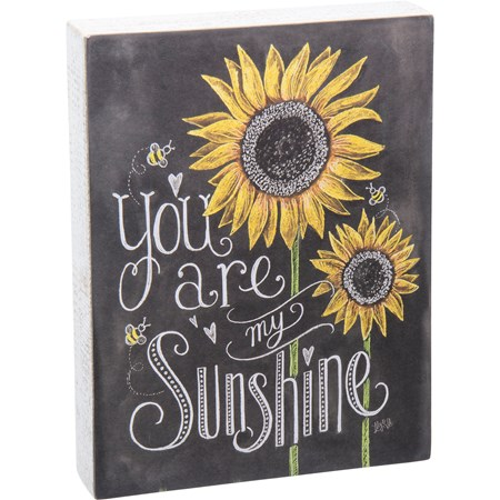 "Chalk Sign - You Are My Sunshine - 7.50"" x 10"" x 1.75"" - Wood, Paper"