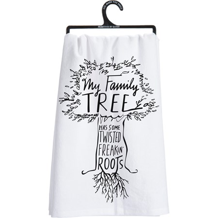 "Dish Towel - Family Tree Has Some Twisted Roots - 28"" x 28"" - Cotton"