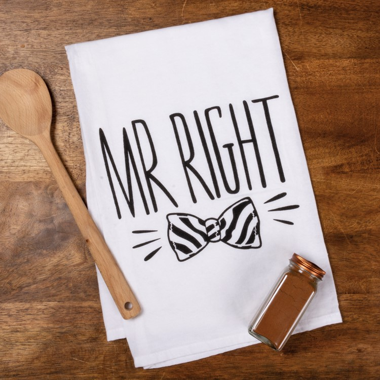 "Dish Towel - Mr. Mrs. - 28"" x 28"" - Cotton"