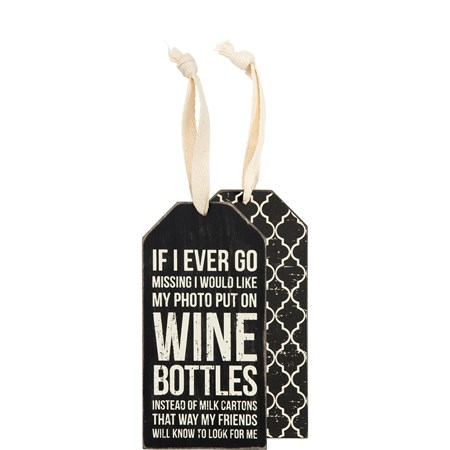"Bottle Tag - Wine Bottles - 3"" x 6"" - Wood, Paper, Fabric"