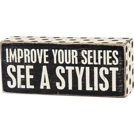 "Box Sign - Your Selfies - 6"" x 2.50"" x 1.75"" - Wood, Paper"