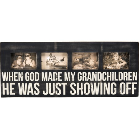 "Box Frame - My Grandchildren - 30"" x 12"" x 2"", Fits 4 6"" x 4"" Photos - Wood"