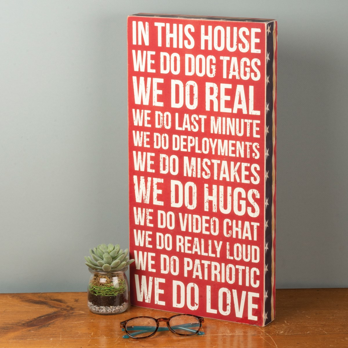 "Box Sign - We Do Dog Tags - 10"" x 20"" x 1.75"" - Wood, Paper"