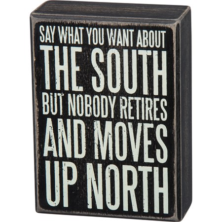 "Box Sign - The South - 4"" x 5.50"" x 1.75"" - Wood"