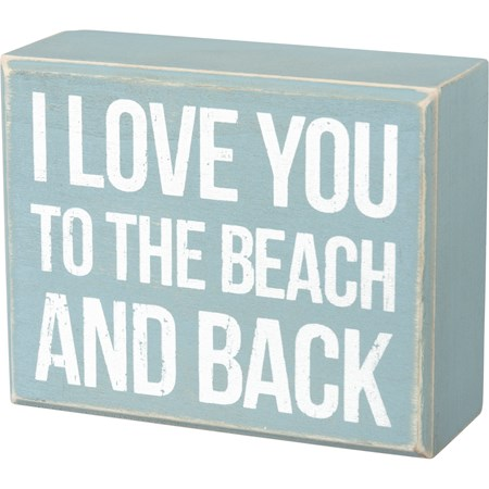 "Box Sign - Beach And Back - 5"" x 4"" x 1.75"" - Wood"