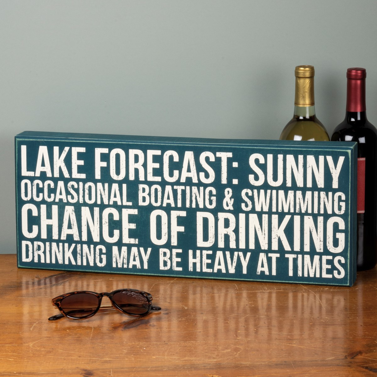 "Box Sign - Lake Forecast - 20"" x 8"" x 1.75"" - Wood"