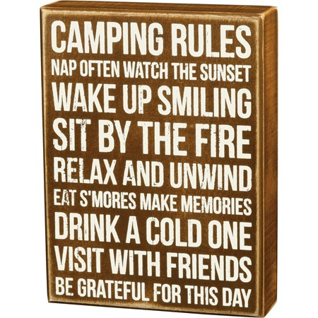 "Box Sign - Camping Rules - 6"" x 8"" x 1.75"" - Wood"