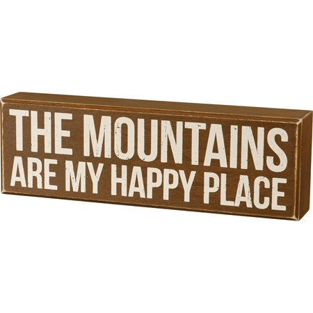 "Box Sign - My Happy Place - 11"" x 3.50"" x 1.75"" - Wood"