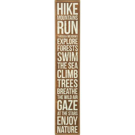 "Box Sign - Hike Mountains - 4"" x 22"" x 1.75"" - Wood"