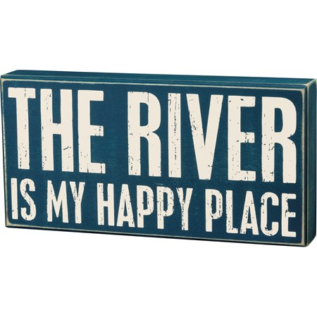 "Box Sign - My Happy Place - 12"" x 6"" x 1.75"" - Wood"