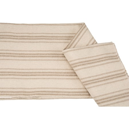 "Fabric - Cream, 12 Tan Stripes - 54"" x 1 Yard - Cotton, Polyester"