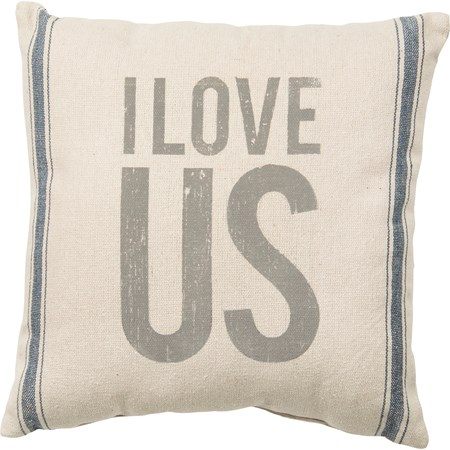"Pillow - I Love Us - 15"" x 15"" - Cotton, Polyester, Zipper"