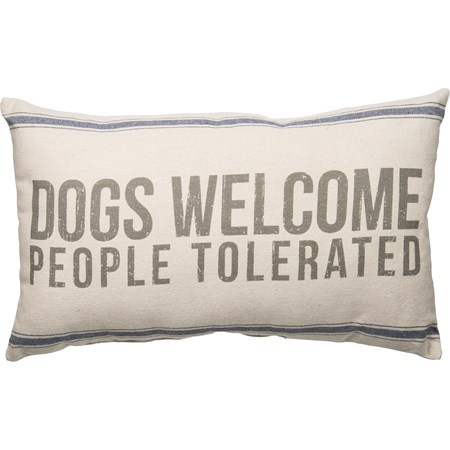 "Pillow - Dogs Welcome - 25"" x 15"" - Cotton, Polyester"