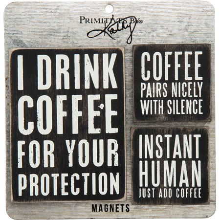"Magnet Set - Coffee - 3"" x 4"", 2"" x 2"", Card: 5.50"" x 5.50"" - Wood, Metal, Magnet"