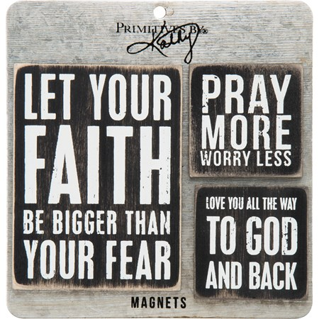"Magnet Set - Faith - 3"" x 4"" , 2"" x 2"", Card: 5.50"" x 5.50"" - Wood, Metal, Magnet"