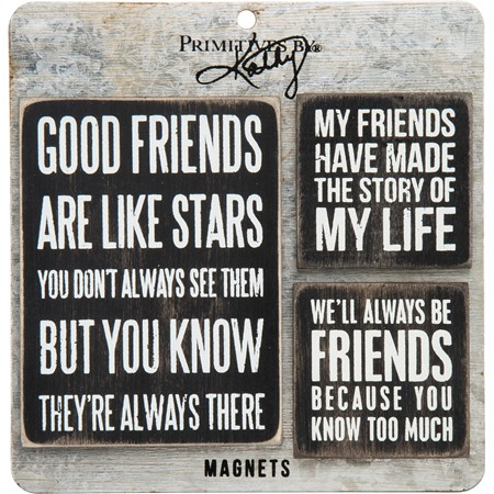 "Magnet Set - Friends - 3"" x 4"", 2"" x 2"", Card: 5.50"" x 5.50"" - Wood, Metal, Magnet"