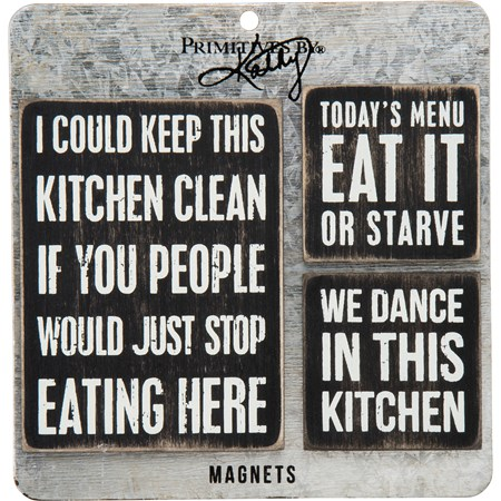 "Magnet Set - Kitchen - 3"" x 4"", 2"" x 2"", Card: 5.50"" x 5.50"" - Wood, Metal, Magnet"