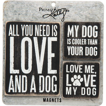 "Magnet Set - Dog - 3"" x 4"", 2"" x 2"", Card: 5.50"" x 5.50"" - Wood, Metal, Magnet"