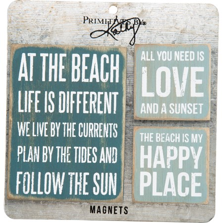 "Magnet Set - Beach - 3"" x 4"", 2"" x 2"", Card: 5.50"" x 5.50"" - Wood, Metal, Magnet"