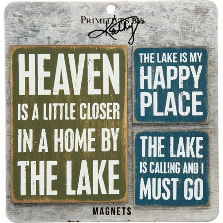 "Magnet Set - Lake - 3"" x 4"", 2"" x 2"", Card: 5.50"" x 5.50"" - Wood, Metal, Magnet"