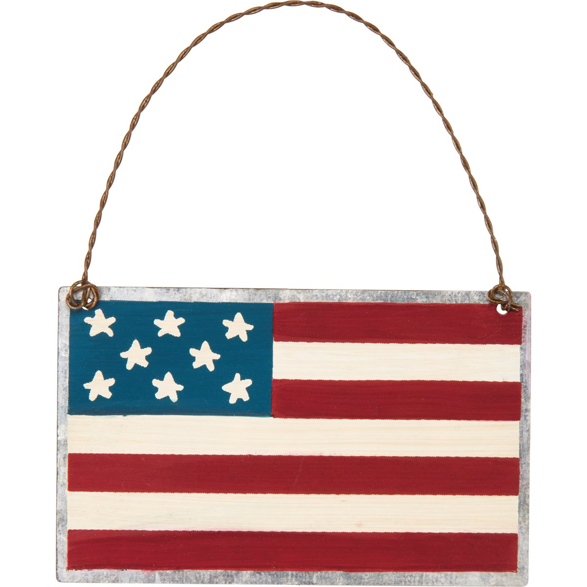 "Ornament - American Flag - 4"" x 2.50"" - Metal, Wire"