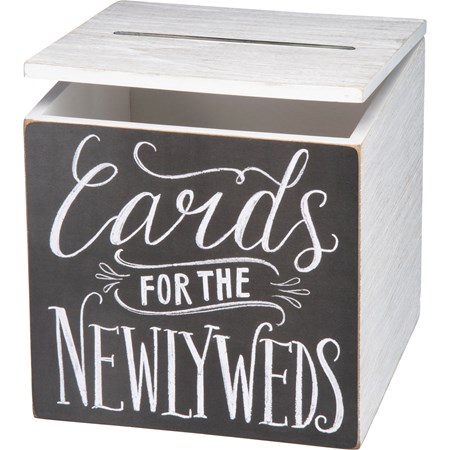 "Card Box - For The Newlyweds - 8"" x 8"" x 8"" - Wood, Paper, Metal"