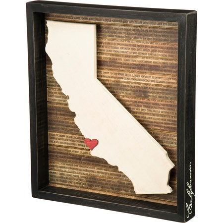 "Box Sign - California - 13.50"" x 15.50"" x 1.75"" - Wood, Paper"