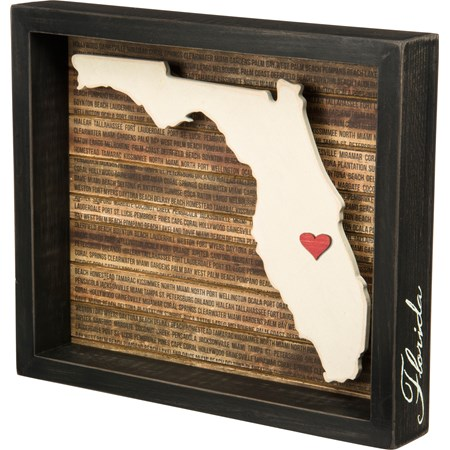 "Box Sign - Florida - 11.75"" x 10"" x 1.75"" - Wood, Paper"