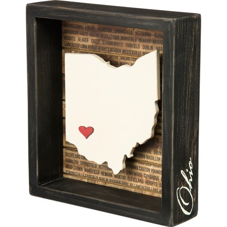 "Box Sign - Ohio - 6.75"" x 7.50"" x 1.75"" - Wood, Paper"