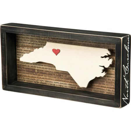 "Box Sign - N. Carolina - 12"" x 6"" x 1.75"" - Wood, Paper"