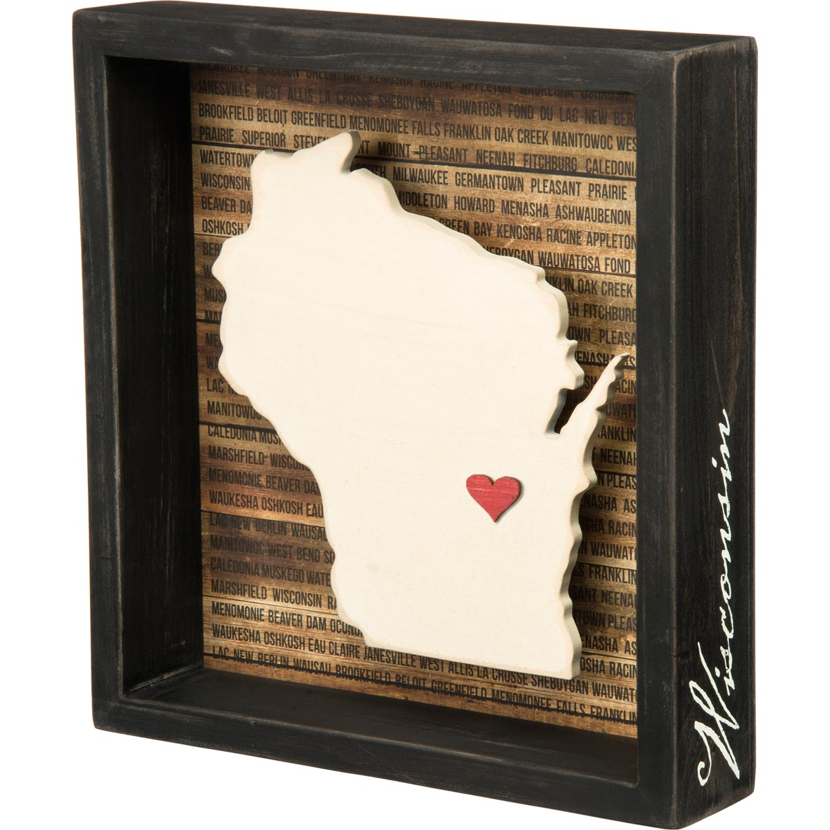 "Box Sign - Wisconsin - 8"" x 8.50"" x 1.75"" - Wood, Paper"
