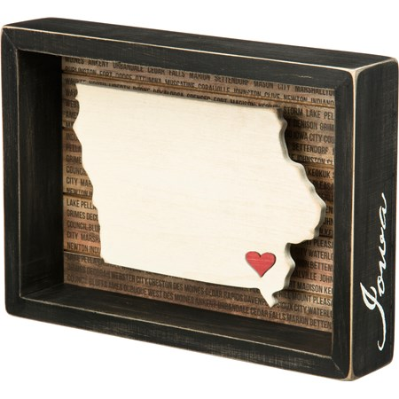 "Box Sign - Iowa - 9"" x 6.50"" x 1.75"" - Wood, Paper"