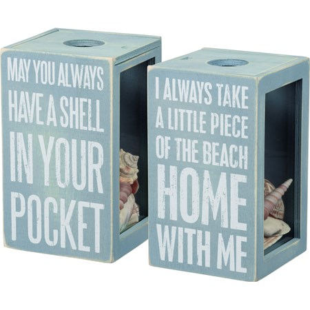 "Sea Shell Holder -  Piece Of The Beach With Me - 4.25"" x 7.25"" x 4.25"" - Wood, Glass"
