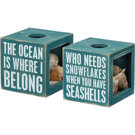 "Sea Shell Holder - The Ocean Is Where I Belong - 4.25"" x 4.25"" x 4.25"" - Wood, Glass"