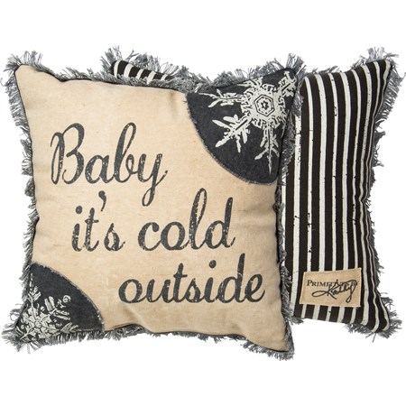 "Pillow - Baby It's Cold - 15"" x 15"" - Canvas, Zipper"