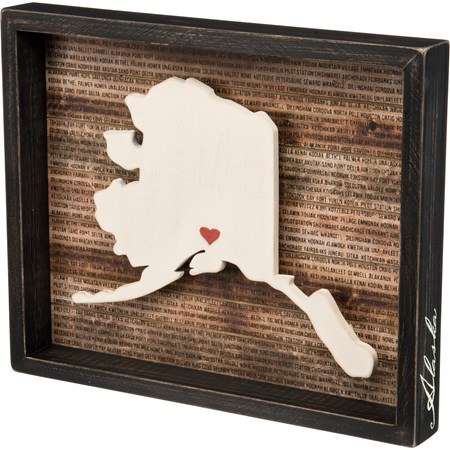 "Box Sign - Alaska - 15"" x 12.25"" x 1.75"" - Wood, Paper"