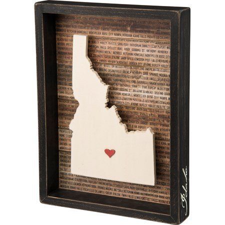 "Box Sign - Idaho - 9.50"" x 12.75"" x 1.75"" - Wood, Paper"