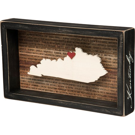 "Box Sign - Kentucky - 11.25"" x 6.50"" x 1.75"" - Wood, Paper"