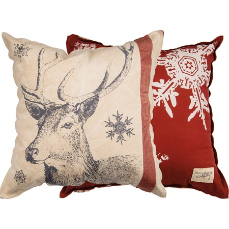 "Pillow - Snowflake Deer - 25"" x 25"" - Canvas"