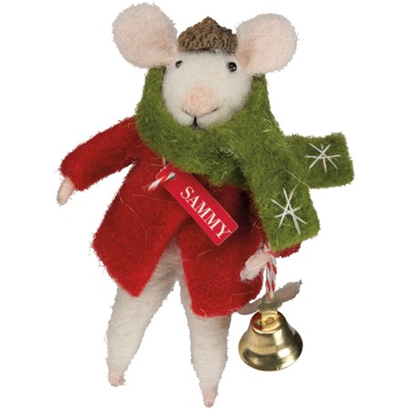 "Mouse - Sammy With Bell - 2.50"" x 4.50"" x 3"" - Felt, Fabric, Metal, Wood"