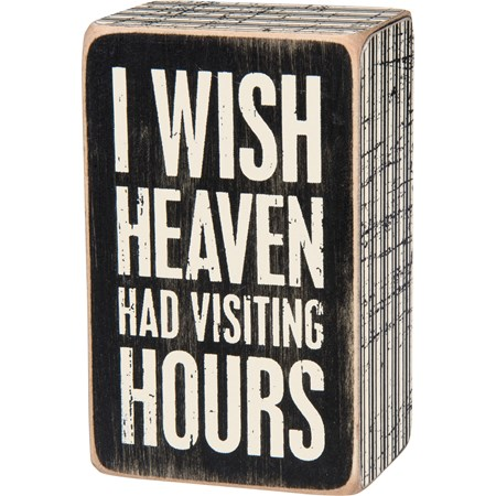 "Box Sign - Visiting Hours - 2.50"" x 4"" x 1.75"" - Wood, Paper"