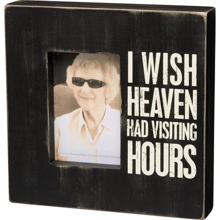 "Box Frame - Visiting Hours - 10"" x 10"" x 2"", Fits 4"" x 6"" Photo - Wood, Glass"