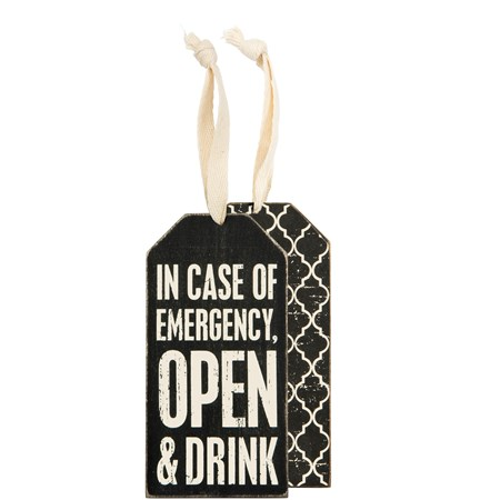 "Bottle Tag - Open & Drink - 3"" x 6"" - Wood, Paper, Ribbon"