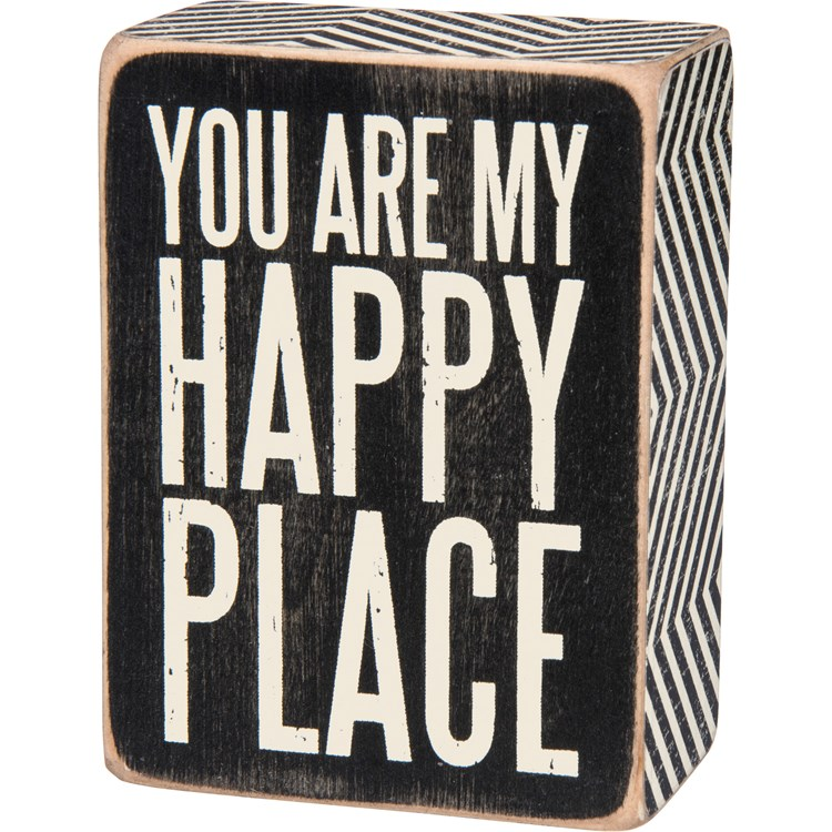 "Box Sign - You Are My Happy - 3"" x 4"" x 1.75"" - Wood, Paper"