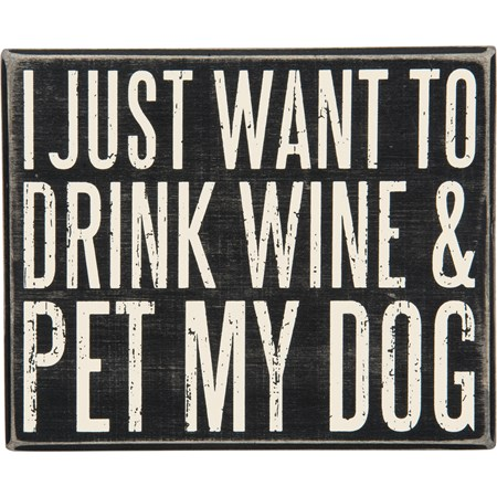 "Box Sign - Pet My Dog - 8"" x 6.50"" x 1.75"" - Wood"