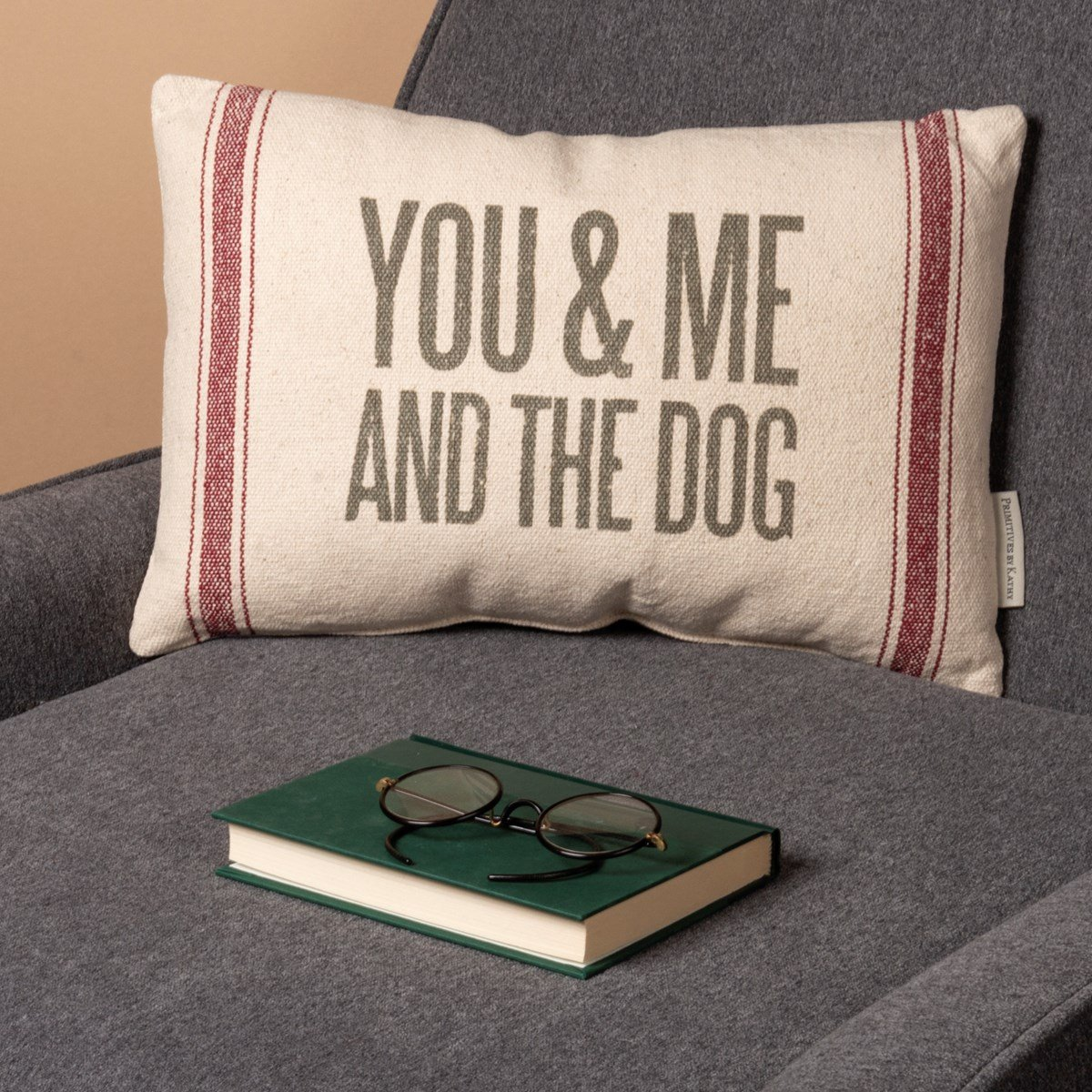 "Pillow - You & Me And The Dog - 15"" x 10"" - Cotton, Polyester, Zipper"