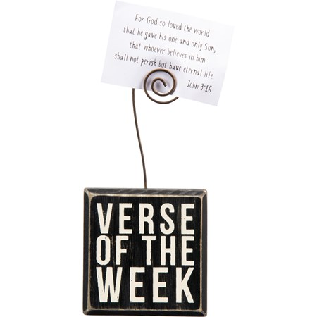 "Photo Block - Verse Of The Week - 3"" x 3"" x 1.50"", Plus Wire - Wood, Wire"