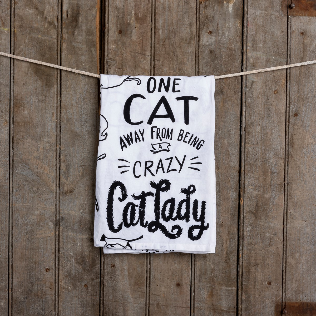 "Dish Towel - Away From Being A Crazy Cat Lady - 28"" x 28"" - Cotton"