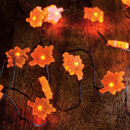 "Wire Lights - Leaf - 42"" Long, 20 Lights, 12"" Cord - Wire, Plastic, Cord"